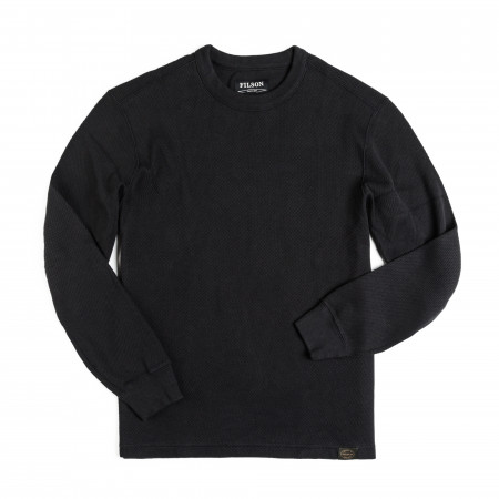Waffle Knit Thermal Crew Neck in Navy