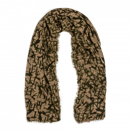 Cashmere Stag Scarf in Green