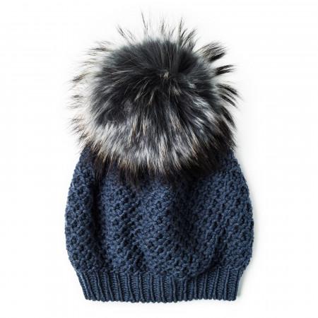 Inverni Cashmere & Raccoon Fur Knit Hat in Blue Grey