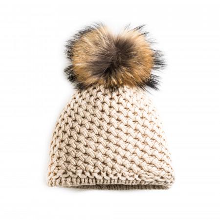 Cashmere & Raccoon Fur Knit Hat in Vanilla