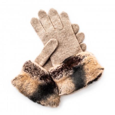 Merola Ladies Cashmere and Rabbit Fur Gloves in Sand