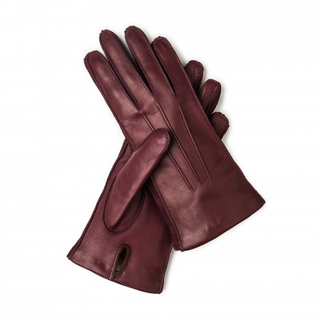 Ladies Leather Gloves with Cashmere Lining in Bordeau