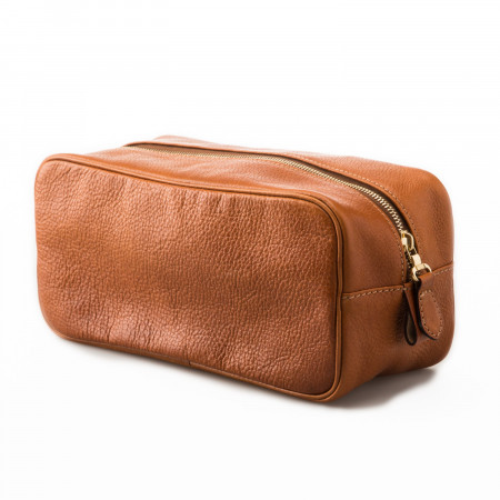 Leather Wash Bag in Mid Tan