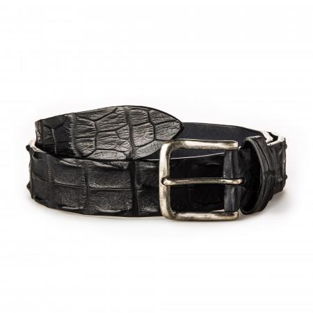 Post & Co. - Men's Crocodile Leather Belt in Black