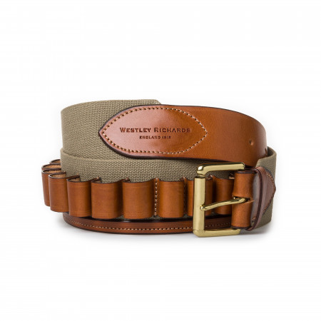 12 Gauge Cartridge Belt in Sand Canvas and Mid Tan