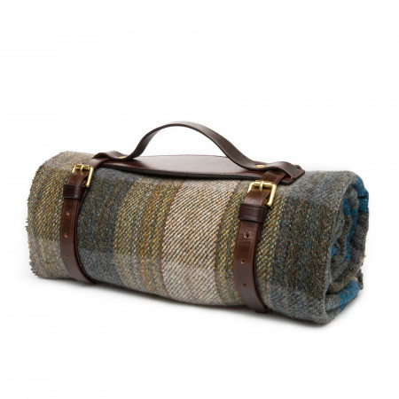 Wool Travel Blanket in Blue Stone