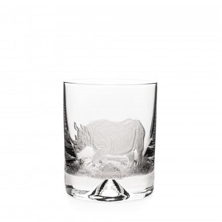 Hand Engraved Crystal Glass - Rhino