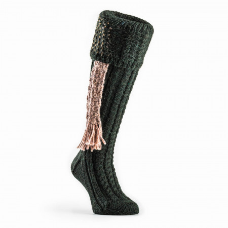 Molland Shooting Sock in Forest & Baked Clay