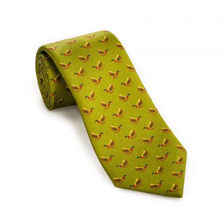 Silk Mallard Tie in Bronze Green