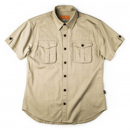 Short Sleeve Campaign Shirt in Light Stone