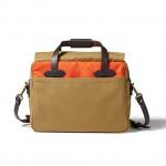 Twill Padded Laptop Briefcase - Orange/ Dark Tan