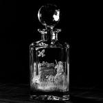 Hand Engraved Bourbon Crystal Decanter Pheasant Scene