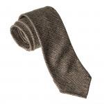 Hand Rolled Wool Herringbone Tie in Brown