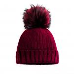 Cashmere & Raccoon Fur Knit Hat in Burgundy