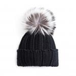 Cashmere & Fox Fur Knit Hat in Black