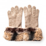 Ladies Cashmere and Rabbit Fur Gloves in Sand