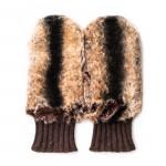 Merola Ladies Cashmere and Rabbit Fur Mittens in Brown
