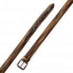 Men's Ostrich Leg Leather Belt -  Beige/Brown