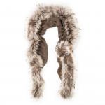 Ladies Fur Detail Scarf -  Beige