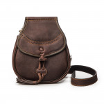 Leather & Fur Hand Warming Bag in  Chocolate