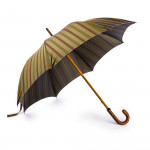 Striped Umbrella with Leather Handle