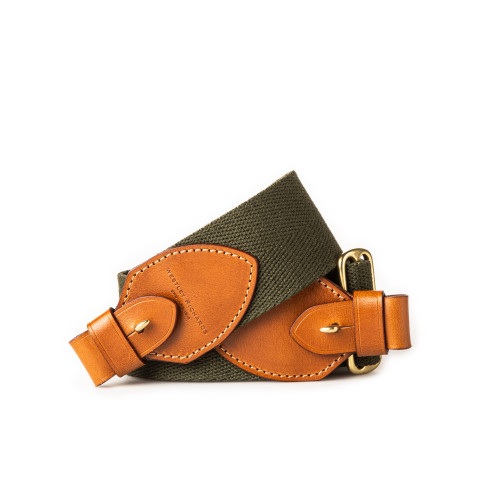 """2"""" Leather Rifle Sling in Green Canvas & Mid Tan"""