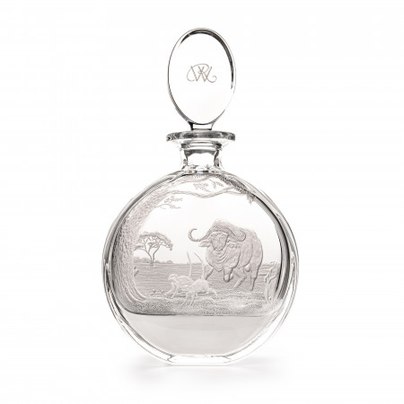 Hand Engraved Crystal Decanter with Charging Buffalo