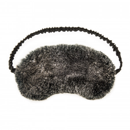 Rabbit Fur Sleep Mask in Black/Snow top