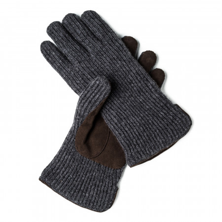Cashmere and Leather Gloves in Charcoal