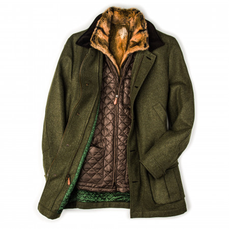 Men's Antonius Fur Lined Coat with Removable Gilet