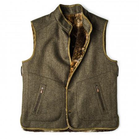 Men's Hector Fur Lined Herringbone Tweed Waistcoat