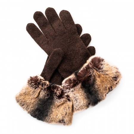 Ladies Cashmere and Rabbit Fur Gloves in Brown