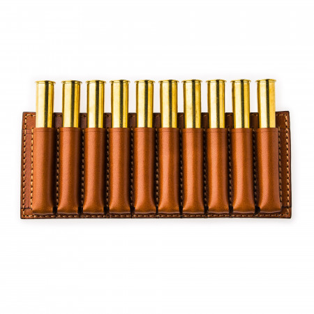 Large 10 Rd Open Ammunition Belt Wallet in Mid Tan