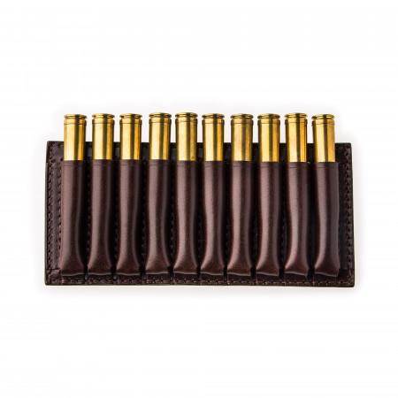Medium 10 Rd Open Ammunition Belt Wallet in Dark Tan