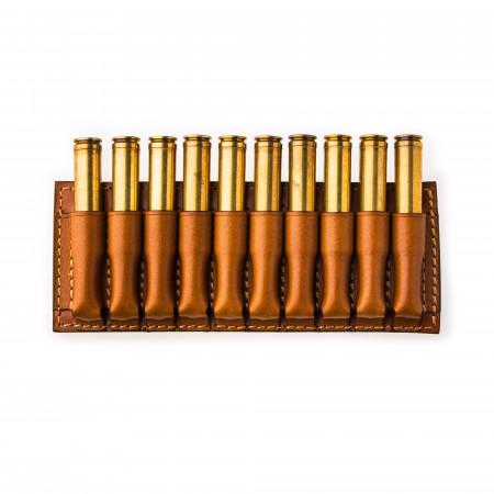 Small 10 Rd Open Ammunition Belt Wallet in Mid Tan