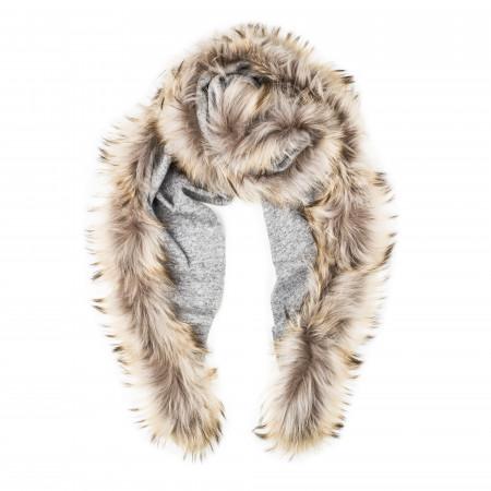 Ladies Fur Detail Scarf in Light Grey