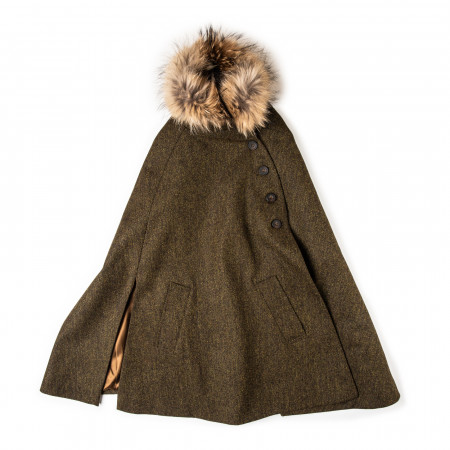 Ladies Fur-Trimmed Cape in Herringbone
