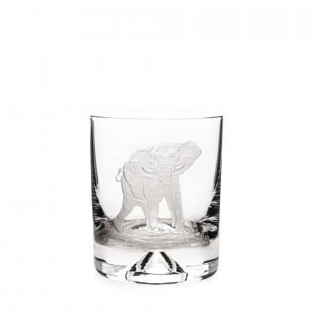 Hand Engraved Crystal Glass - Elephant