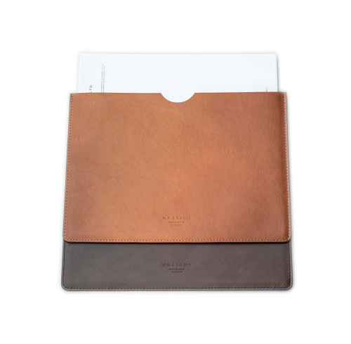 Leather Document Holder in Dark Tan