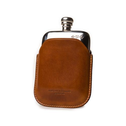 4oz Hip flask in Mid Tan