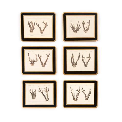 Antler Print Coasters - Roe Buck