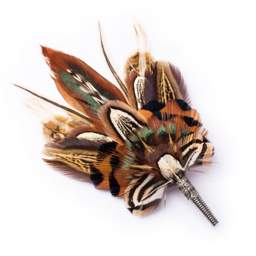 Orange & Brown Pheasant Feather Pin