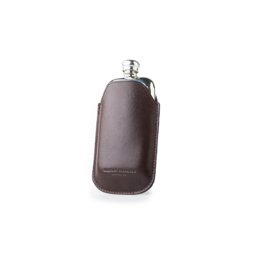 2.5oz Hip flask in Dark Tan