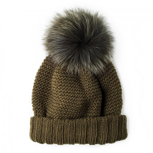 Cashmere &  Fox Fur Knit Hat in Olive