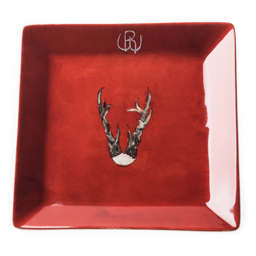 Porcelain Dish With Hand Painted Roebuck Antlers- Design 1