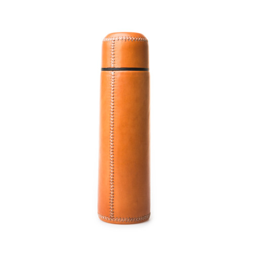 Hand Stitched Leather Covered Thermos 1L - Tan