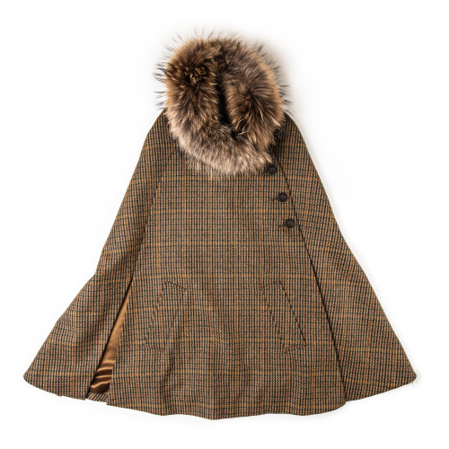 Ladies Fur-Trimmed Cape in Harris Check