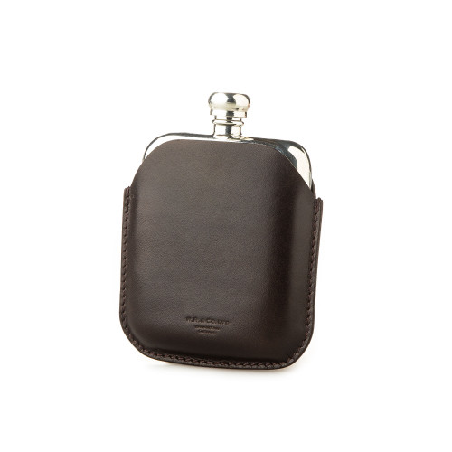 4oz Hip flask in Dark Tan