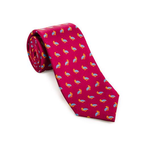 Silk Partridge Tie in Magenta