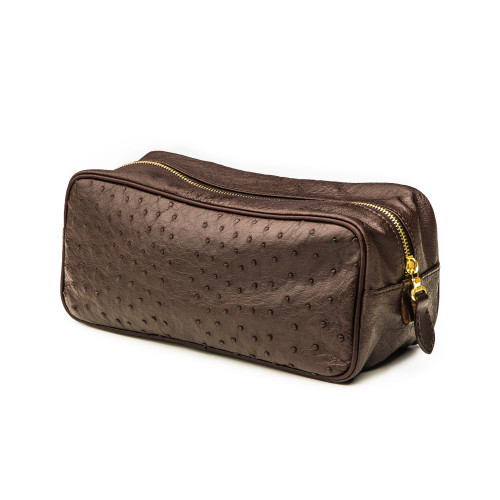 Leather Wash Bag in Ostrich